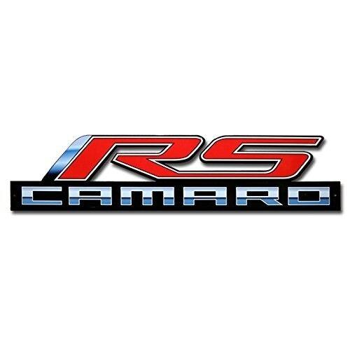 Camaro RS Metal Sign w Camaro Script 34x8 inches