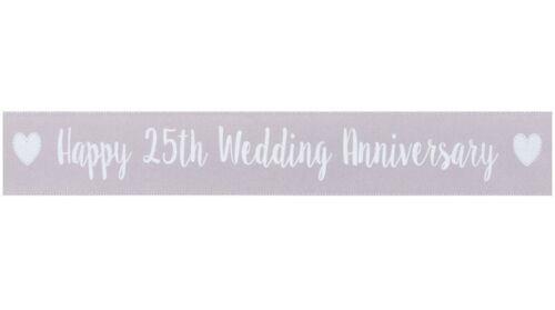Engagement Just Married Joyeux Anniversaire 25th 30th 40th 50th 60th ruban satin