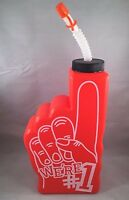 Orange Sports We're 1 Foam Finger Drinking Bottle Straw Cap Team Party Water