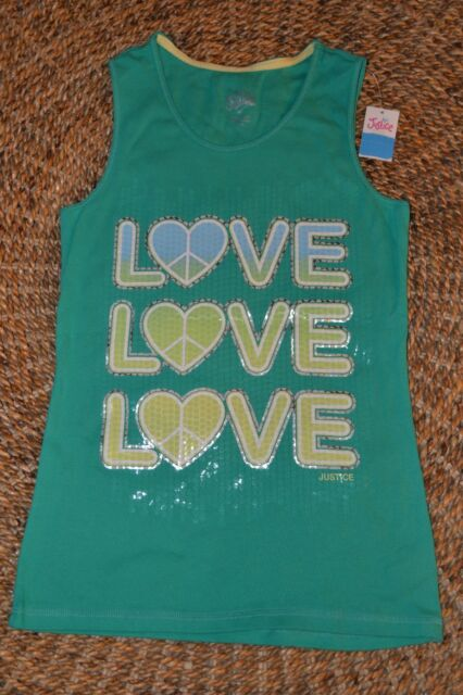 NWT Justice Girls Turquoise Allover Foil Glitter Cami Tank Top Tee U Pick NEW