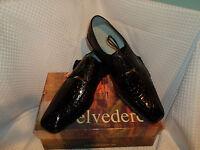Belvedere Mens Genuine Alligator Lace Up Oxford Shoes Black 13