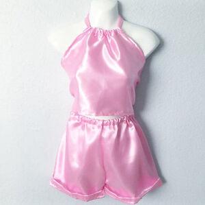 Pink Handmade Satin Look Top   Short Custom Made Cute Tow Piece Set ... ca802e2a2fa0