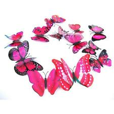 12x 3D Butterfly Wall Sticker Fridge Magnet Party Room Decor Decal Applique Red