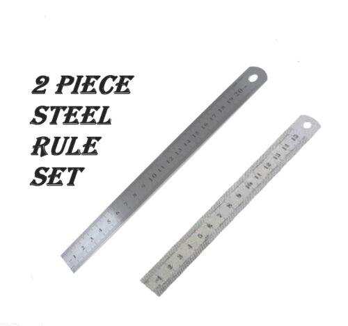 "Shine 2 Pack Metal Rules 8/"" /& 6/"" Stainless Steel Metric Dual Marking Rules"