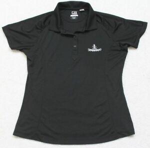 Black-Polo-Shirt-Short-Sleeve-Medium-Solid-WoMen-039-s-Top-Cutter-amp-Buck-CB-DryTec