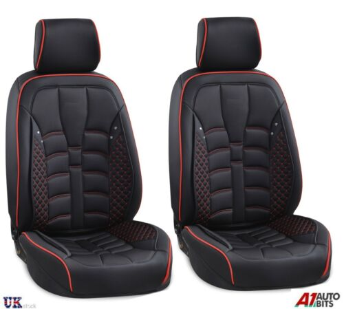 Deluxe Black Fabric /& PU Leather Front Seat Covers Padded for Kia Hyundai