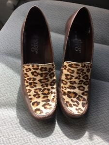 cd0cd96bc289 Franco Sarto Brown Leather Leopard Print Pony Hair Heeled Oxfords ...