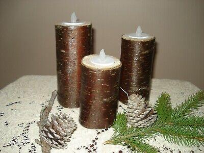 Real Birch Log Candle Holder Set