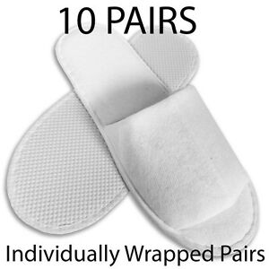 10-pairs-SPA-HOTEL-GUEST-SLIPPERS-OPEN-TOE-TOWELLING-DISPOSABLE-TERRY-STYLE-NEW