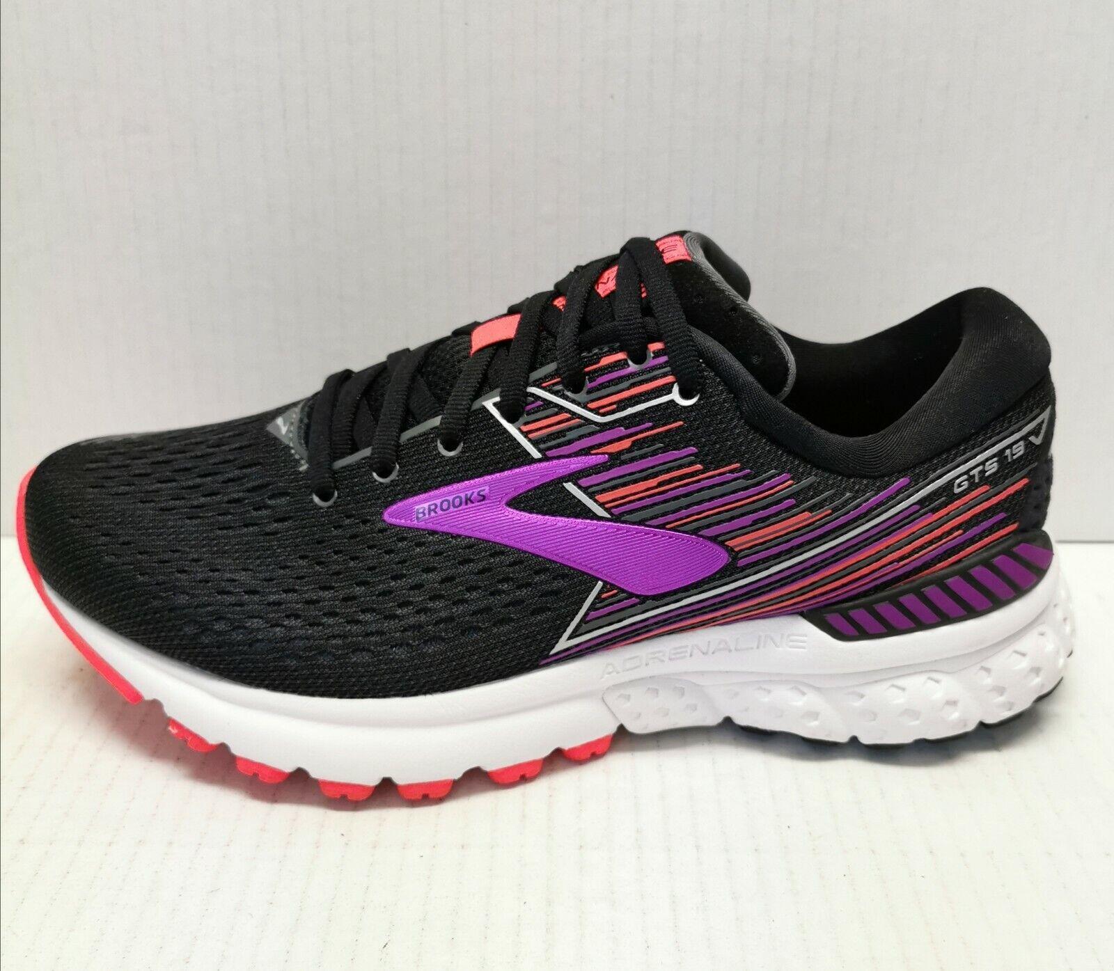 Brooks adrenalina GTS 19, zapatos de correr, tipo negro   púrpuraa, 8 yardas de ancho.
