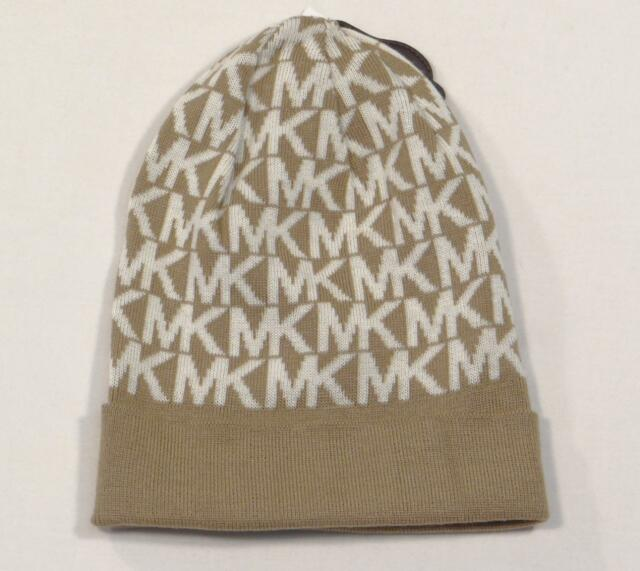 95580cab73d Michael Kors Signature Tan   White Cuff Beanie Skull Cap Women s One ...