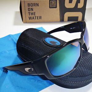 af410dd93f0f7 Costa Del Mar Luke Polarized Sunglasses-Shiny Black Green Mirror Glass 400G  Lens