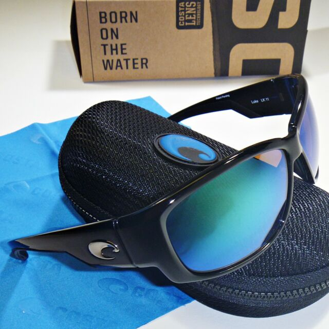 271ab8d31c8b Costa Del Mar Luke Polarized Sunglasses-Shiny Black/Green Mirror Glass 400G  Lens