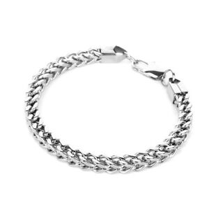 bc067a2ddba87 Details about Heavy Stainless Steel Square Curb Wheat Chain Link Bracelet  Womens Bangle Silver