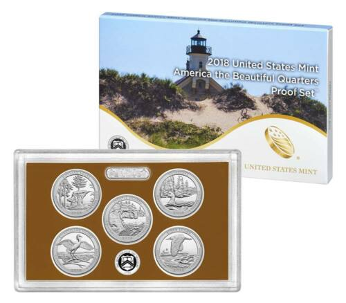2018 S Proof America the Beautiful Quarter ATB US Mint clad 5 coin Set WITH COA