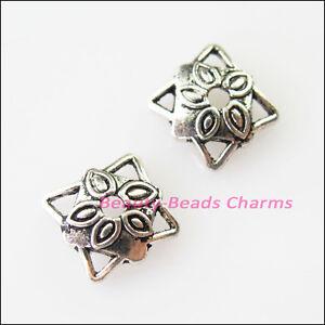 20Pcs Tibetan Silver Tone Cone Flower End Bead Caps Connectors 9mm