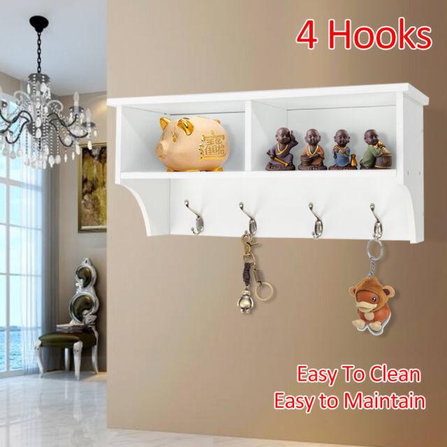 Large 8 Hook Porch Hallway Tidy Wall Coat Rack Hanger Hall Storage Drawers Shelf