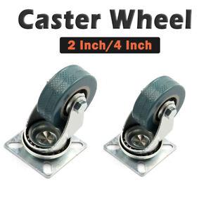 """4/"""" 100mm Heavy Duty 2/"""" PVC Rubber Swivel Castor Wheels Caster 40KG 50mm"""