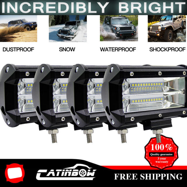 "4x 5/"" Inch 288W LED Off Road Work Light Bar Spot Beam Driving Fog Lights Lamps"
