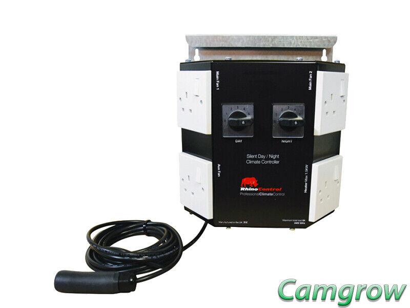 Rhino-GIORNO NOTTE SILENZIOSA FAN CONTROLLER 8 Amp grow room di controllo della temperatura