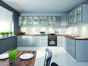 Details zu Küchenzeile / EINBAUKÜCHE L-Küche Linea ERWEITERBAR KÜCHE MDF  Grau / Weiß