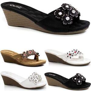 d2b1c3d1991c Details about Ladies Wedge Sandals Fancy Summer Dress Heels Comfort Walking  Beach Shoes Size