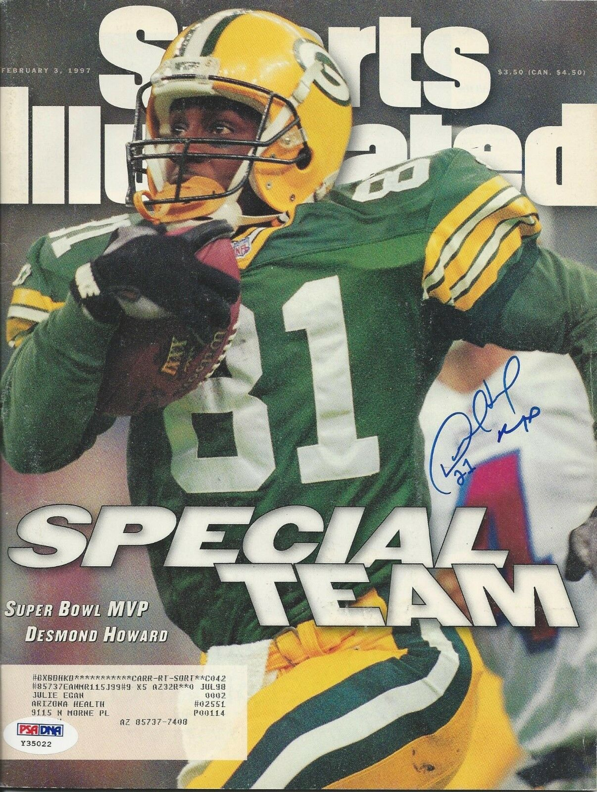 Desmond Howard Green Bay Packers Signed Magazine - PSA/DNA # Y35022