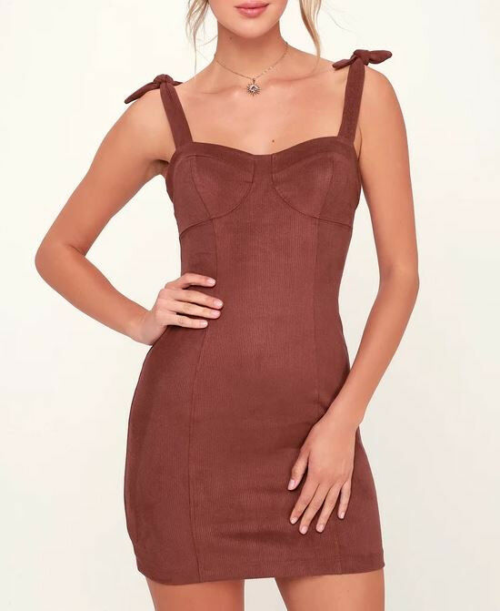 Free People Womens Something Bout You OB842081 Dress Bodycon Mini Brown Size XS