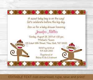 picture relating to Printable Baby Boy Shower Invitations identified as Data over Foolish Sock Monkey Little one Boy Printable Child Shower Invitation Editable PDF