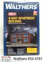 HO SCALE MODEL RAILROAD TRAINS LAYOUT WALTHERS 4 UNIT APARTMENT BUILDING KIT Toys