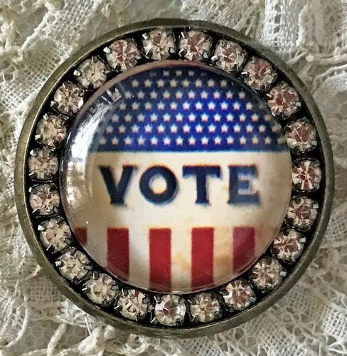 Details about  /VOTE Glass Rhinestone BROOCH Lapel Scatter Pin Patriotic Election Stars Stripes