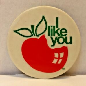 Vintage 1974 PPS INC I LIKE YOU APPLE Pins Button Pinback ...