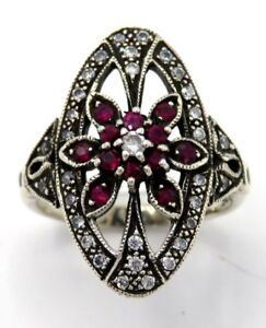 Ring-Ruby-amp-Zirconia-925-Sterling-Silver-Size-51