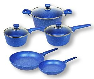 Blue-Stone-Non-stick-Cookware-Set-Frypan-Saucepan-Casserole-Induction-8pc