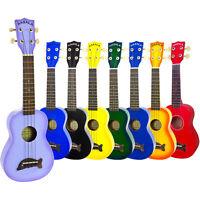 Makala Soprano Ukulele Fitted With Aquila Strings Various Colours & Black Case