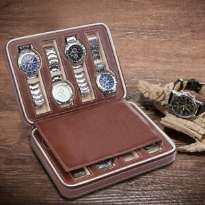 New-8-Grids-Leather-Watch-Display-Case-Jewelry-Collection-Storage-Holder-Box-UK