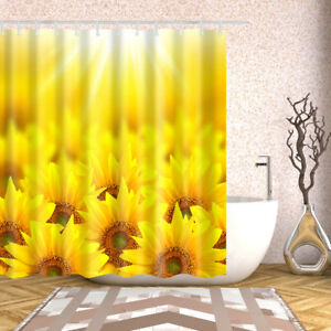 Image Is Loading Shower Curtain Art Decor Set Sunflower Printed Polyester