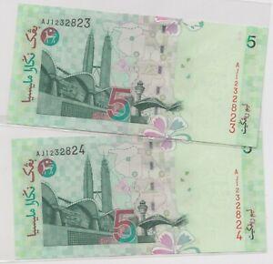 Mazuma *M1207 Malaysia 10th $5 AJ1232823-824 2 Running UNC
