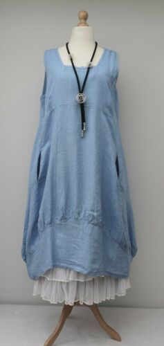 2 Pockets Blue light Plain Plus Dress 54 xxlbust Long Oversized Size 52 Linen xl z8qzUWX1I