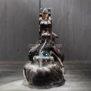 Porcelain-Dragon-W-Glass-Ball-Smoke-Tower-Backflow-Ceramic-Cone-Incense-Burner