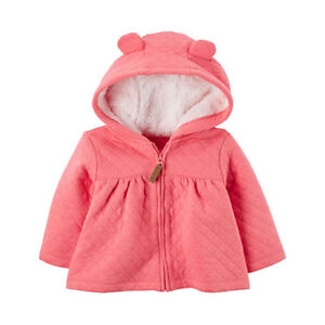 d6dbe41a45b0 Carters Baby Girls  Hooded Ear Fleece-Lined Quilted Sherpa Jacket ...