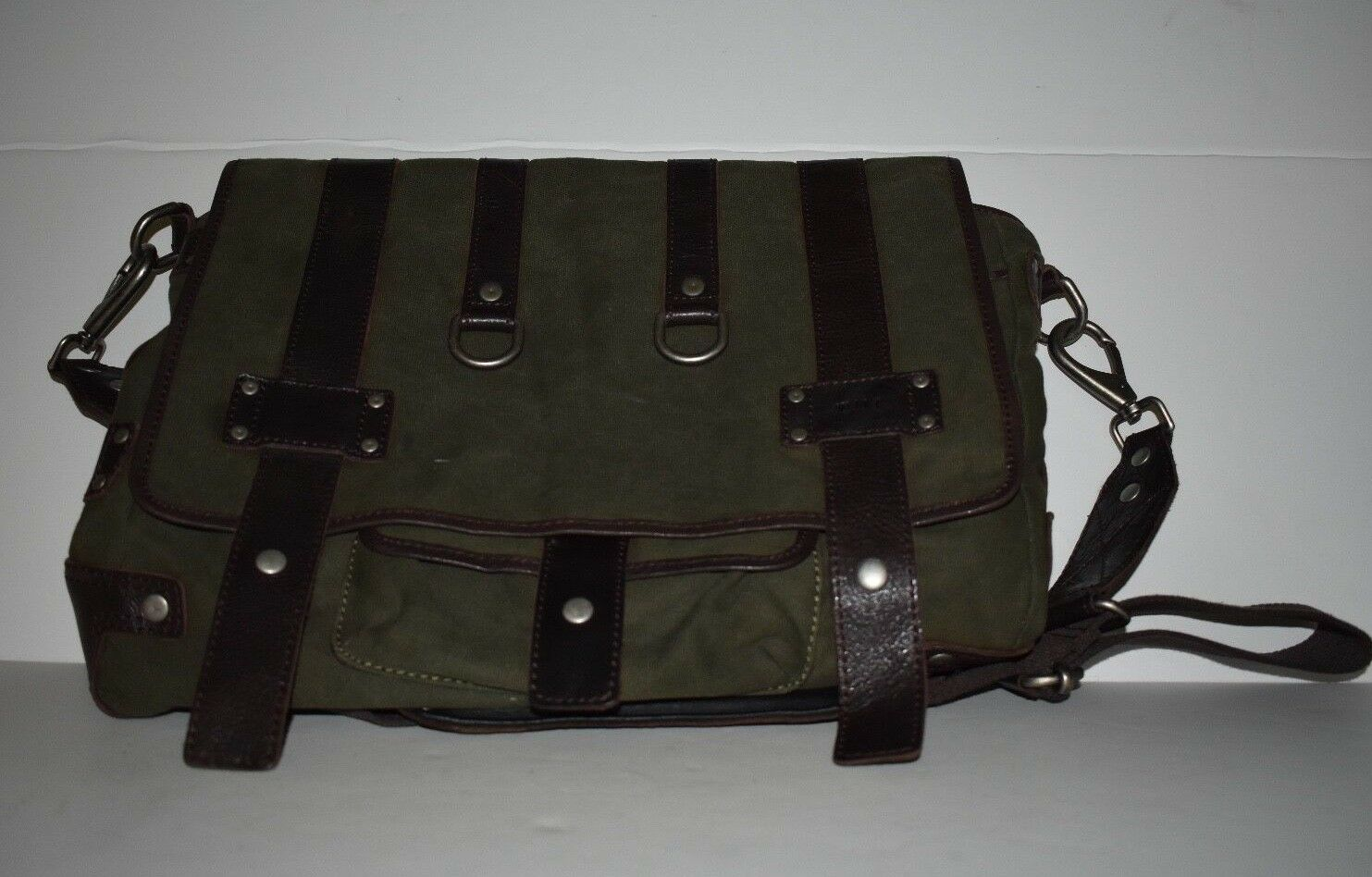 Will Leather Goods Leather Canvas Messenger Bag w/Laptop Sleeve Olive/Brown Trim