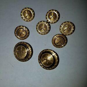 Vintage Quartermaster Corps Waterbury Gold Blazer 8 Button Set, Military US Army
