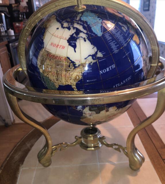 "21"" Tall Blue Lapis Tripod  Leg table Gemstone World Map Globe W/ Brass"