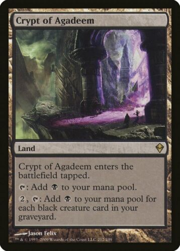 Crypt of Agadeem Zendikar HEAVILY PLD Land Rare MAGIC GATHERING CARD ABUGames