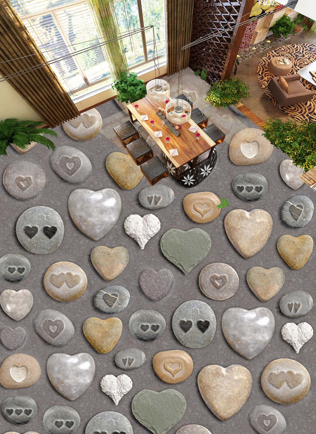 3D Heart Shape Stones 9 Floor WallPaper Murals Wall Print Decal AJ WALLPAPER US