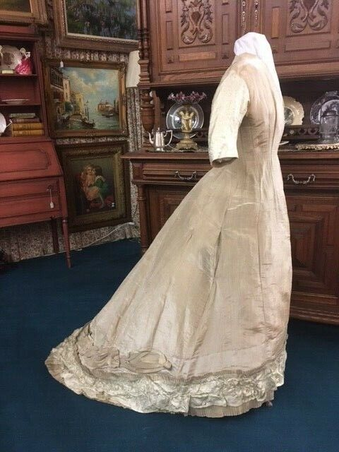 #21-090, 1870's Princess Line Bustle Gown of Taupe & Mint Green Silk