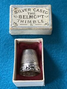 """Vintage Silver Cased """"The Belmont Thimble Size 6-Rare in Original Box-Rose Band"""