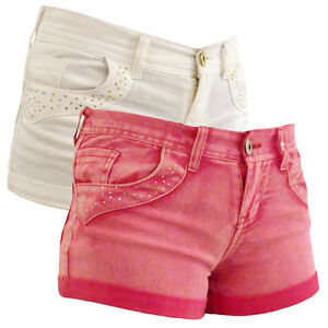 Womens Sexy Denim Hot Pants Diamante Shorts Pant Ladies Bling ...
