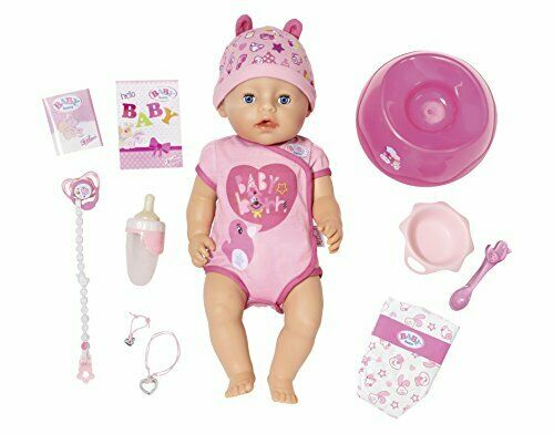 Zapf Baby Born Soft Touch Girl with Blue Eyes 9 Interactive Functions Doll, 43cm